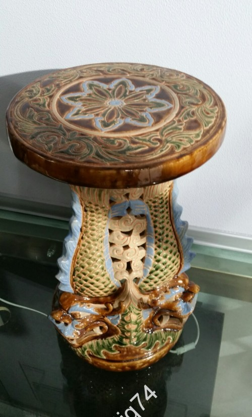 Большая керамическая подставка, консоль с драконами.