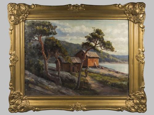 Кольманн, Э.(?) Пейзаж. Дом у озера с соснами.