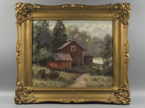 Кольманн, Э.(?) Пейзаж. Дом у озера