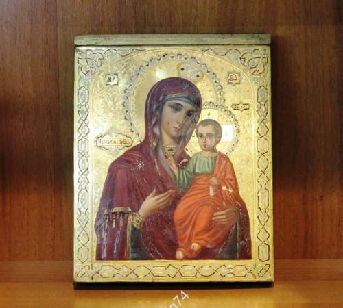 Икона Иверская Богоматерь. Золото, резьба по левкасу.