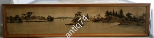Огромная картина на ткани. 1,7 метра. Старый Китай, Япония