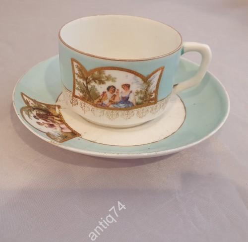 Чайная пара, чашка. С галантной сценой. Кузнецов