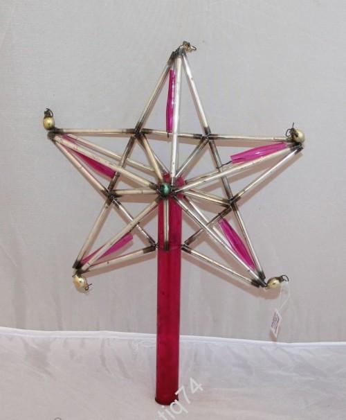 Большая звезда на ёлку, стеклярус. Елочная игрушка.