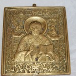 меднолитая икона Николай Чудотворец