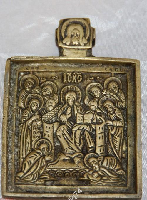 меднолитая икона Седмица с навершием