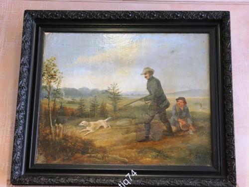 Охота, охотник с собакой. Картина в старинной раме. Конец XIX в. Холст, масло. Большая.