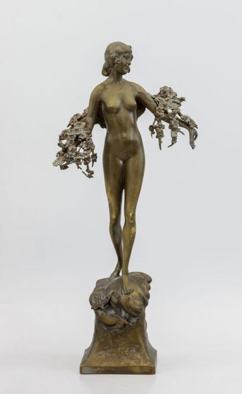 Скульптура Аллегория весны. Австро-Венгрия, Вена, н. ХХ в. Скульптор Рихард Тус. Бронза.