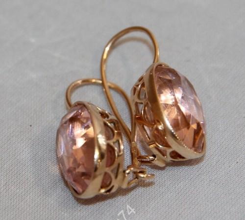 Крупные золотые серьги, сережки. Золото, 585 пр