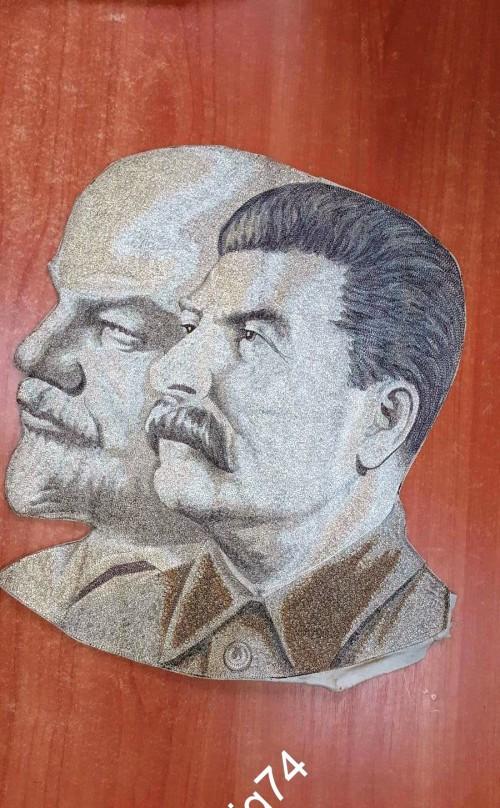 Вышивка шелком?, гобелен. Ленин, Сталин. 1930-е годы. 39 на 32 см. Редкость