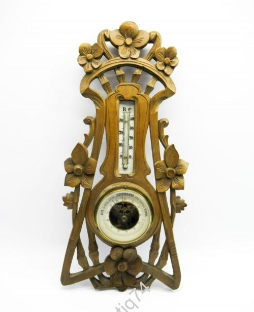 Барометр с термометром настенный. Рубеж 19-20 веков.