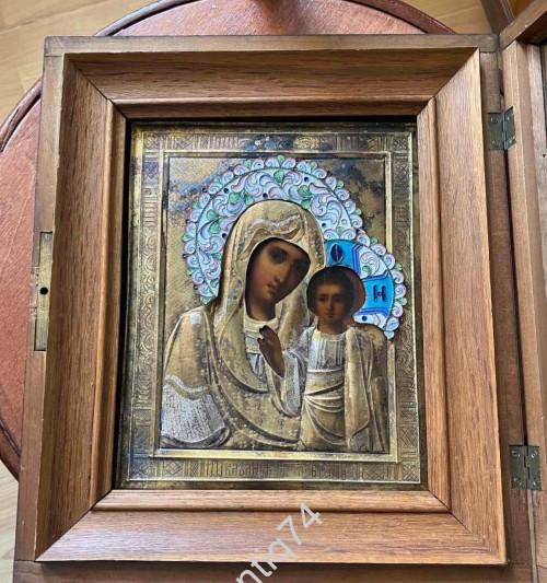 Икона Богоматерь Казанская. Серебро, 84 пр. Эмали