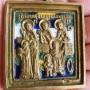 Меднолитая икона Кирик и Иулита с избранными святыми. Клейма МРСХ и МС. Хрусталёв. Эмали