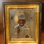 икона Николай Чудотворец зимний. Серебро, 84 пр. Киот.