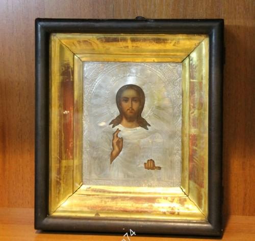 икона Спас Вседержитель. Серебро, 84 проба. 1896г. Киот