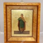 Икона - именник. Святой мученик Павел. Золото. Киот из карельской березы