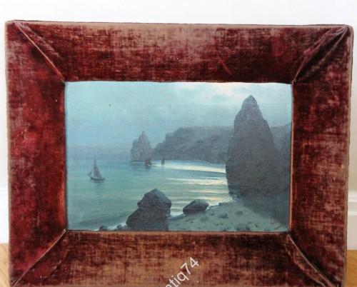 Старинная картина. Морской пейзаж. Подписана. 19 век. Старая рама.