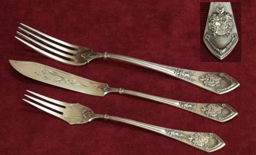 Шикарный Серебряный набор. Столовая вилка, нож и вилка для рыбы. Германия